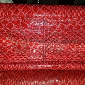 Jessica Simpson Red Croc Embossed Faux Leather